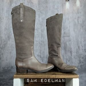 Sam Edelman Pembrooke suede & leather riding boots